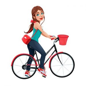 Young smiling woman on a bicycle. Vector cartoon isolated character.
